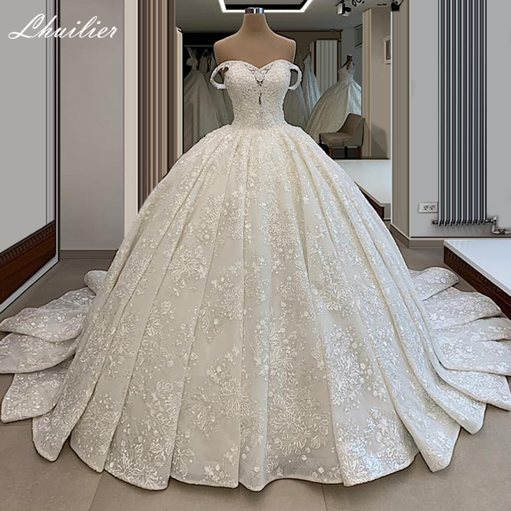 Lhuilier فساتين زفاف دانتيل على الكتف طول الأرض كريستال مطرز ذيل شابيل فساتين زفاف