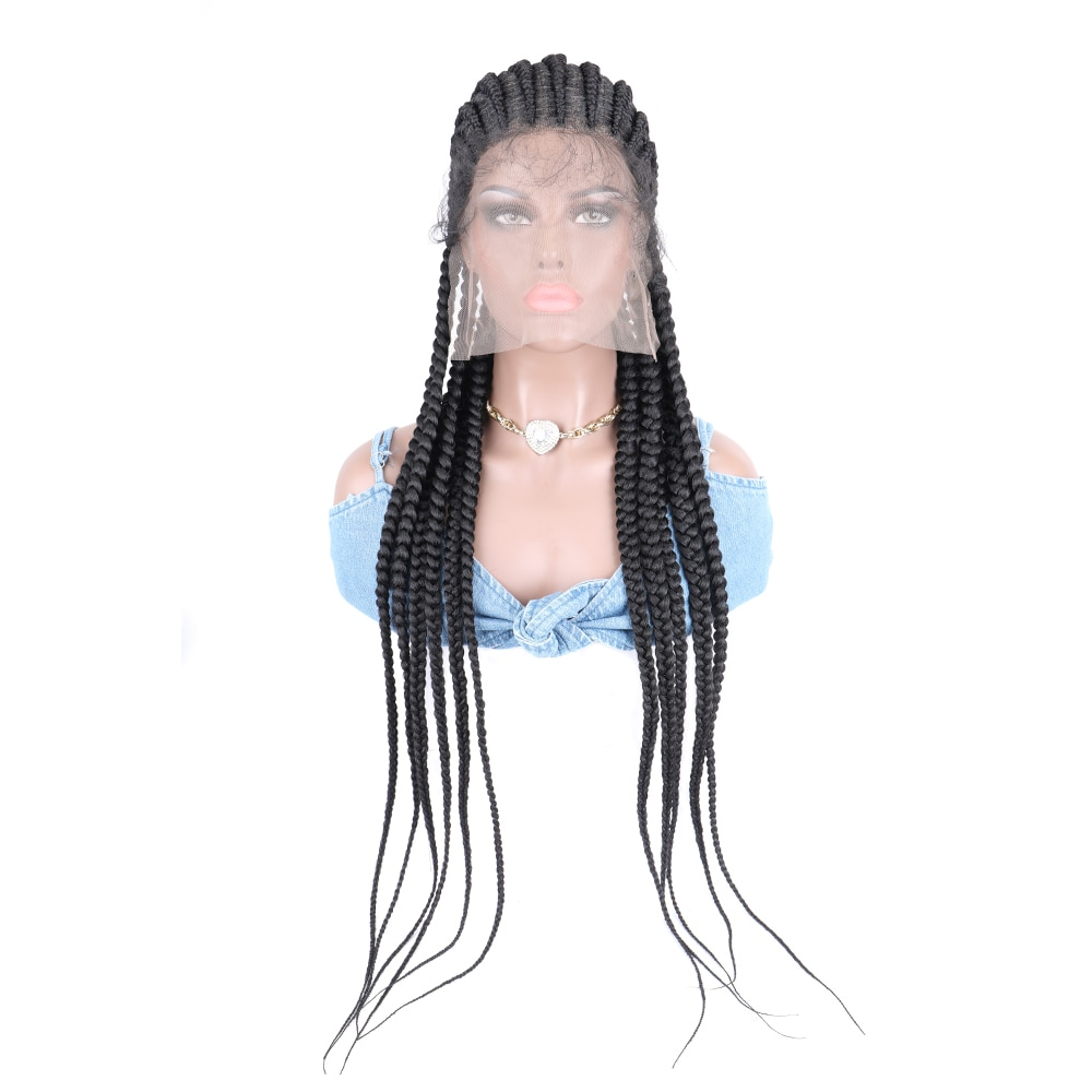 Synthetic Wig Braid Africa Braiding Hair Lace Frontal Wigs Full Lace 32inches Black Wigs For Women Braided Wigs Wholesale