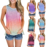 rainbow color printing tops women casual tank tops plus size clothing for women 2021 white top sexy streetwear