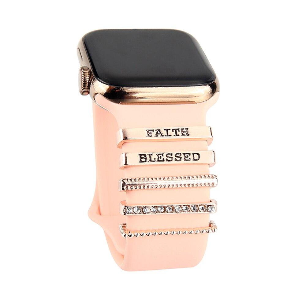 Металлическое кольцо с подвесками для Apple Watch, ремешок с бриллиантами, силиконовый ремешок для смарт-часов, Аксессуары для браслета iwatch ремешок для смарт часов marcel robert ремешок apple watch 38 40mm xs красный