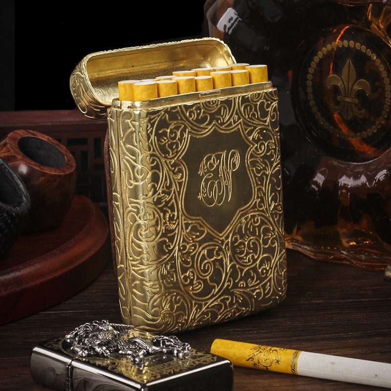Luxury Vintage Carved Cigarette Box Case Container Brass Tobacco Box Holder Pocket Storage Box Can Hold 14 Thick Cigarettes