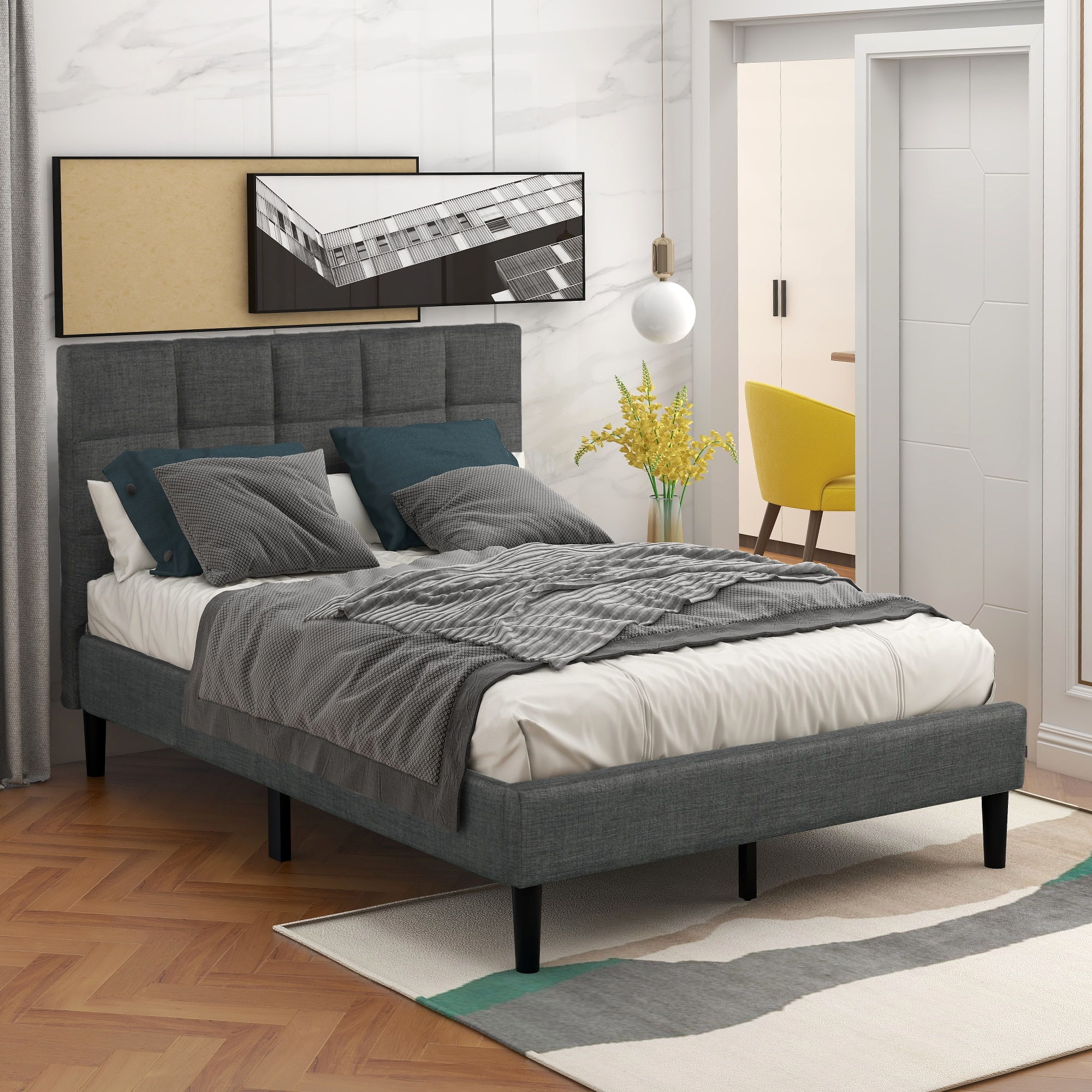 Каркас для кровати большого размера, многофункциональная рамка для кровати с мягкой платформой, домашний декор, мебель для спальни