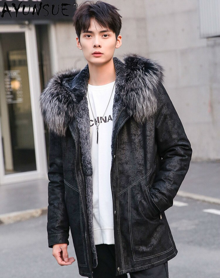 AYUNSUE-معطف شتوي من جلد الغنم للرجال ، معطف فرو الأرانب الحقيقي ، 5XL ، LXR490