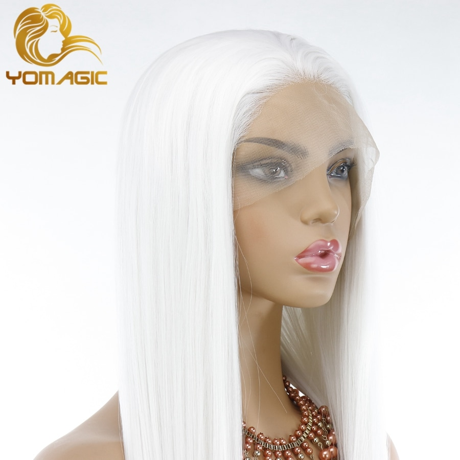 Yomagic White Color Synthetic Hair Lace Front Wigs for Women Natural Hairline For Cosplay Glueless Lace Wigs