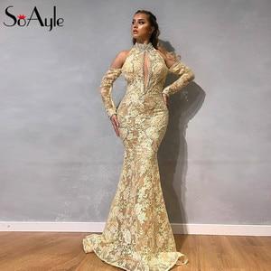 SoAyle Mermaid Evening Dress Lace Formal Dresses Evening Gown Beaded Long Sleeves Arabic Dubai Prom Dresses