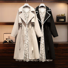 Spring New Suit Windbreaker Dress Fat Sister Plus Size Jacket 2021 European And American Fashion Clo