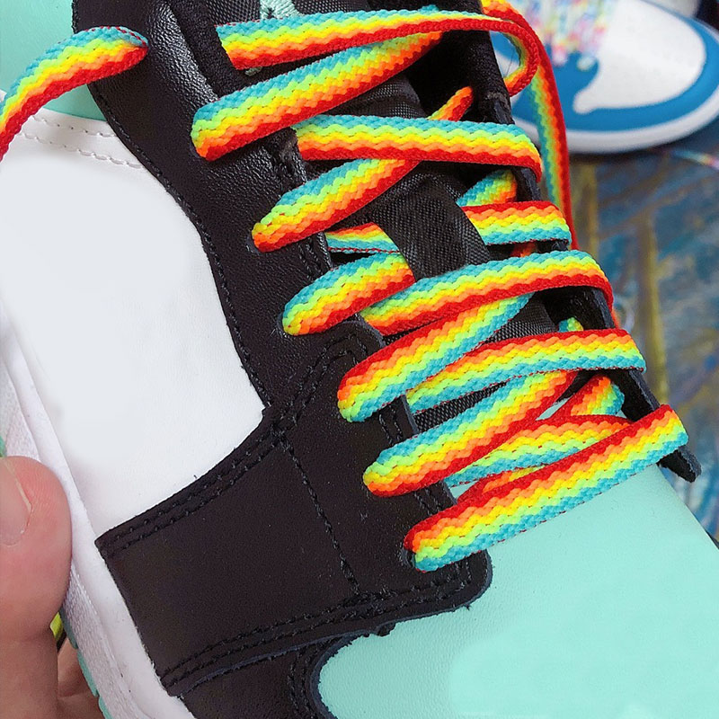 Psychedelic Style 3D Rainbow Shoelaces For Man Outdoor Sports Shoelaces New AJ White Cool Casual Sho