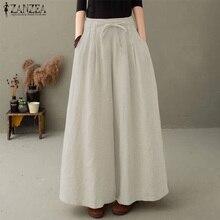 Женские широкие брюки размера плюс ZANZEA, стильная юбка-брюки, повседневные длинные брюки палаццо с эластичной резинкой на талии, 5XL