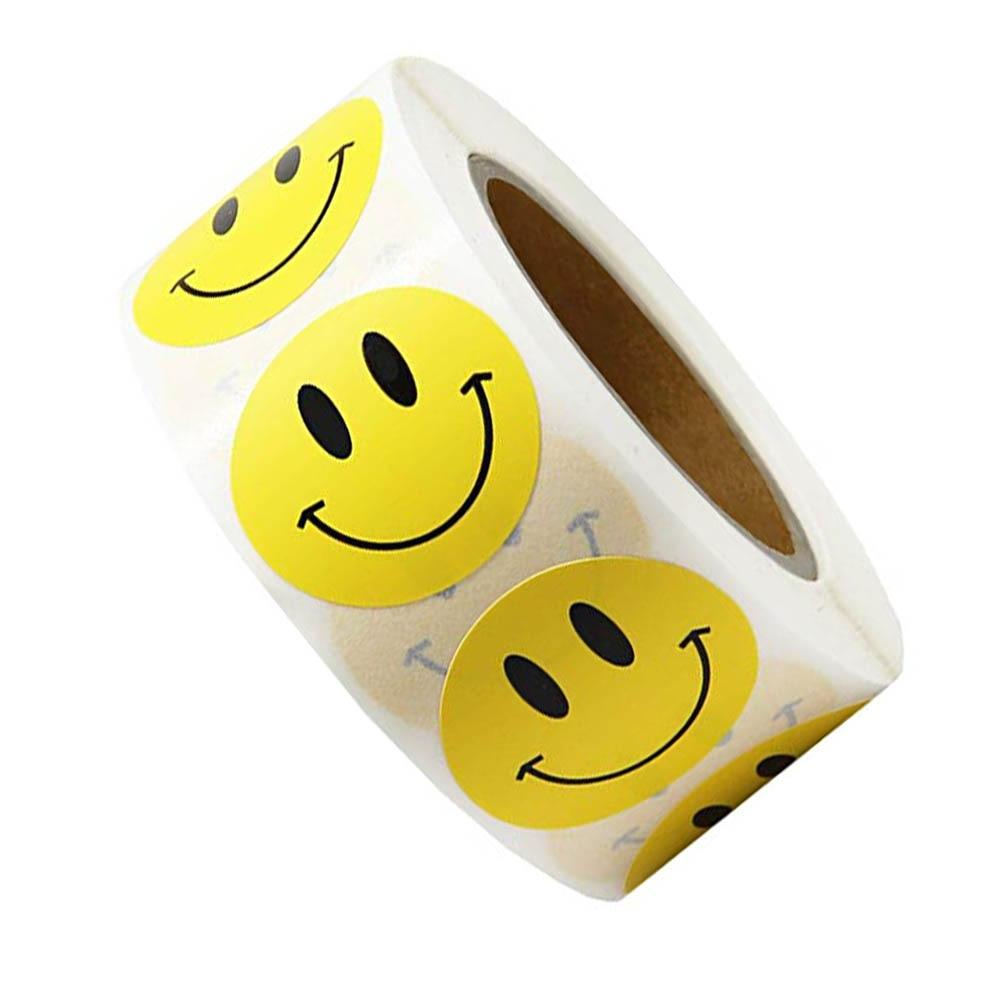 Smiley Face Sticker 500 Pcs/roll for Kids Reward Sticker Yellow Dots Labels Happy Smile Face Sticker Kids Toys brand slogan programmer happy smile english alphabet slipknot aviation trolley sign personality leaflets toys magazine sticker
