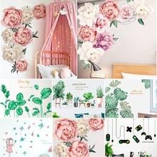 Fleur/feuilles vertes/fille/jeu Stickers muraux pour chambre salon salle à manger cuisine enfants chambre bricolage vinyle Stickers muraux