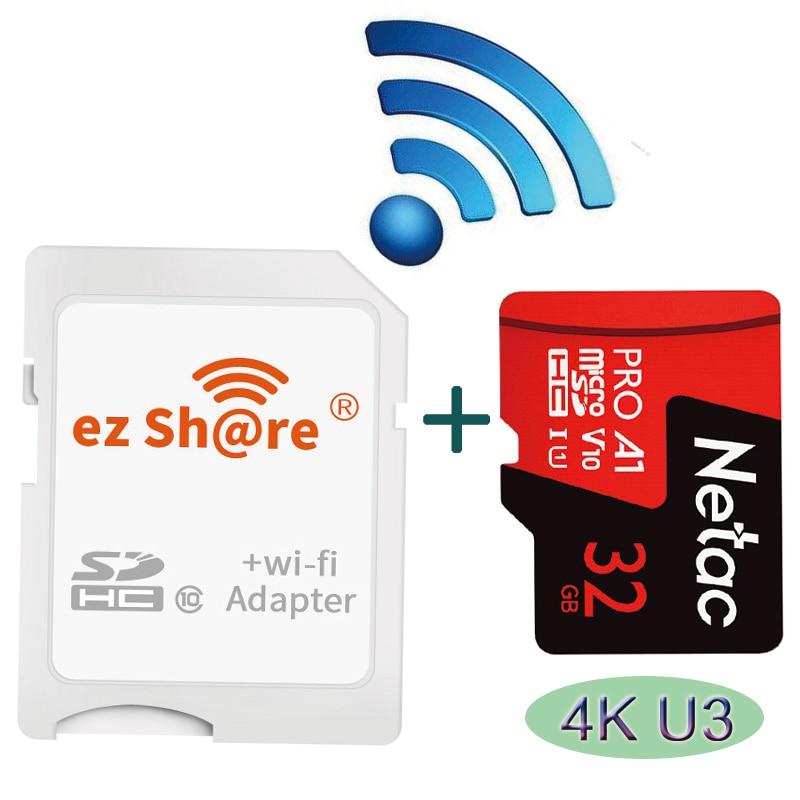 Netac واي فاي بطاقة ذاكرة فلاش لاسلكية SD HC 16GB 32GB Ez حصة واي فاي محول بطاقة SD تقاسم لاسلكي مجموعة من البطاقات الجيل الرابع