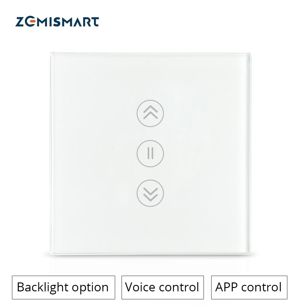 Zemimart — Interrupteur à rideau avec support Google Home Alexa Echo, commutateur de volet coulissant WiFi à moteur marche avec Siri