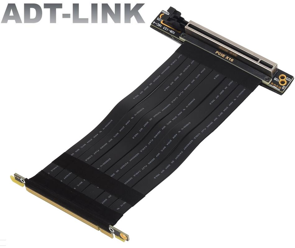 جديد PCIE 3.0 X16 بطاقة الرسومات مرنة تمديد كابل مزدوج 90 درجة المقبس الرأسي ذكر/أنثى بزاوية الناهض مهائي كابلات