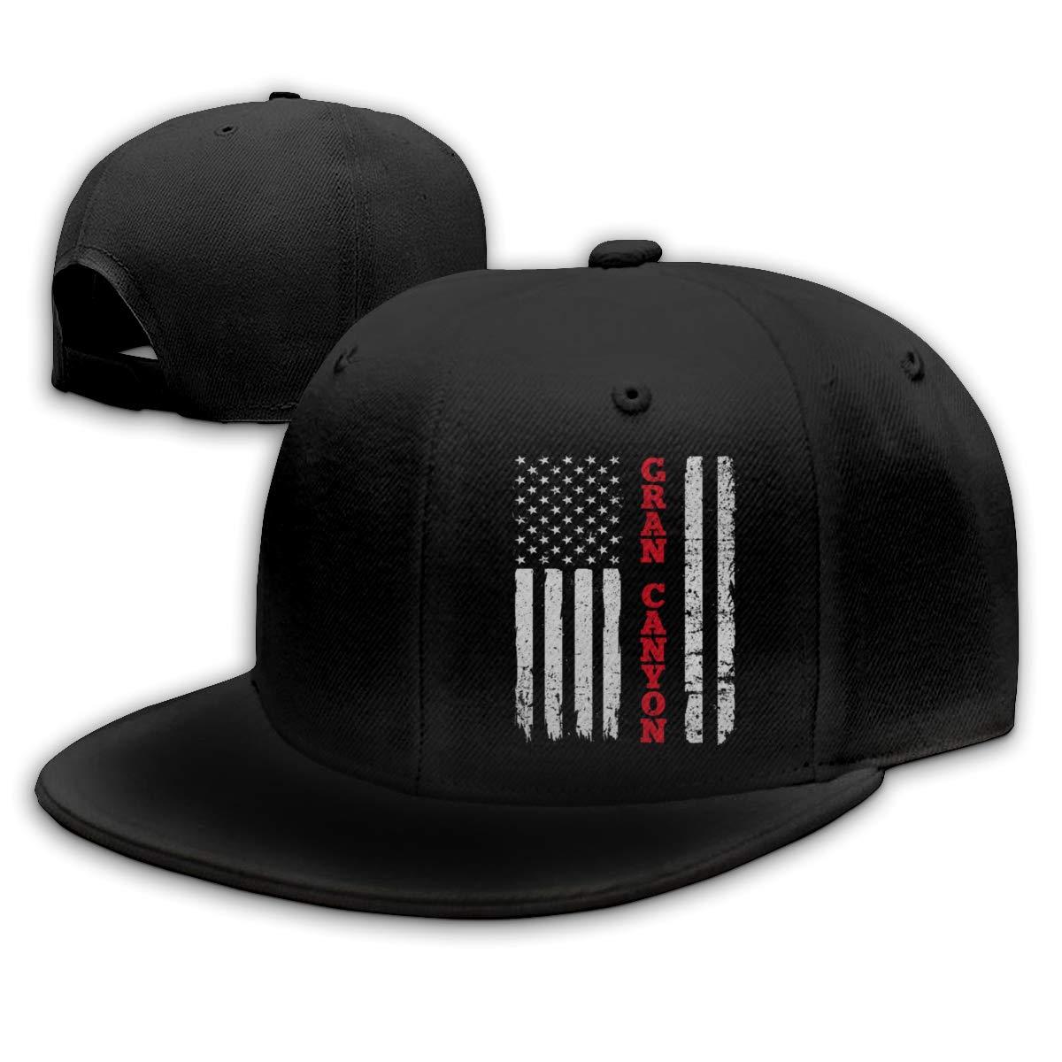 Gorra de béisbol para hombre negra ajustable con pico plano del Gran Cañón americano