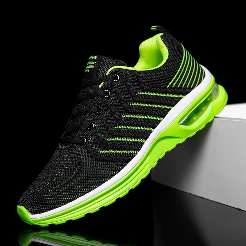 New Running Shoes for Men Sneakers Jogging Air Cushion Breathable Fly Weave Mesh Lace-up Outdoor Training Sport Shoes Zapatillas