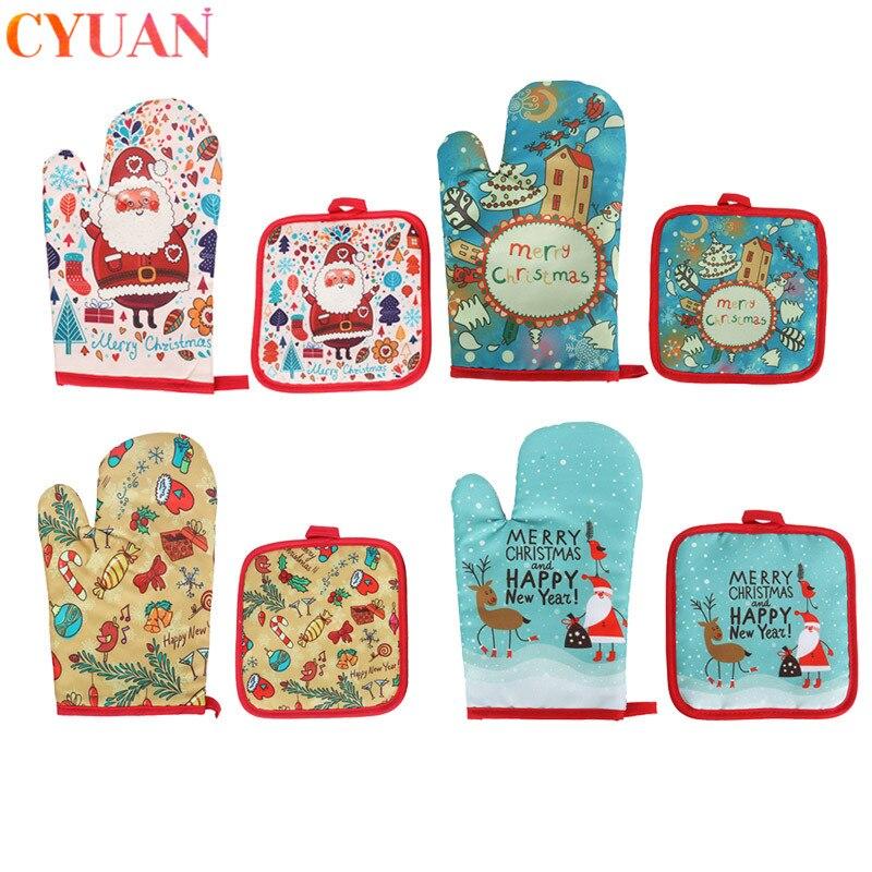 2 unids/set Decoración de cocina de Navidad guantes Anti-calientes horno de microondas alfombra de aislamiento caliente año nuevo 2020 suministros de decoración del hogar Natale
