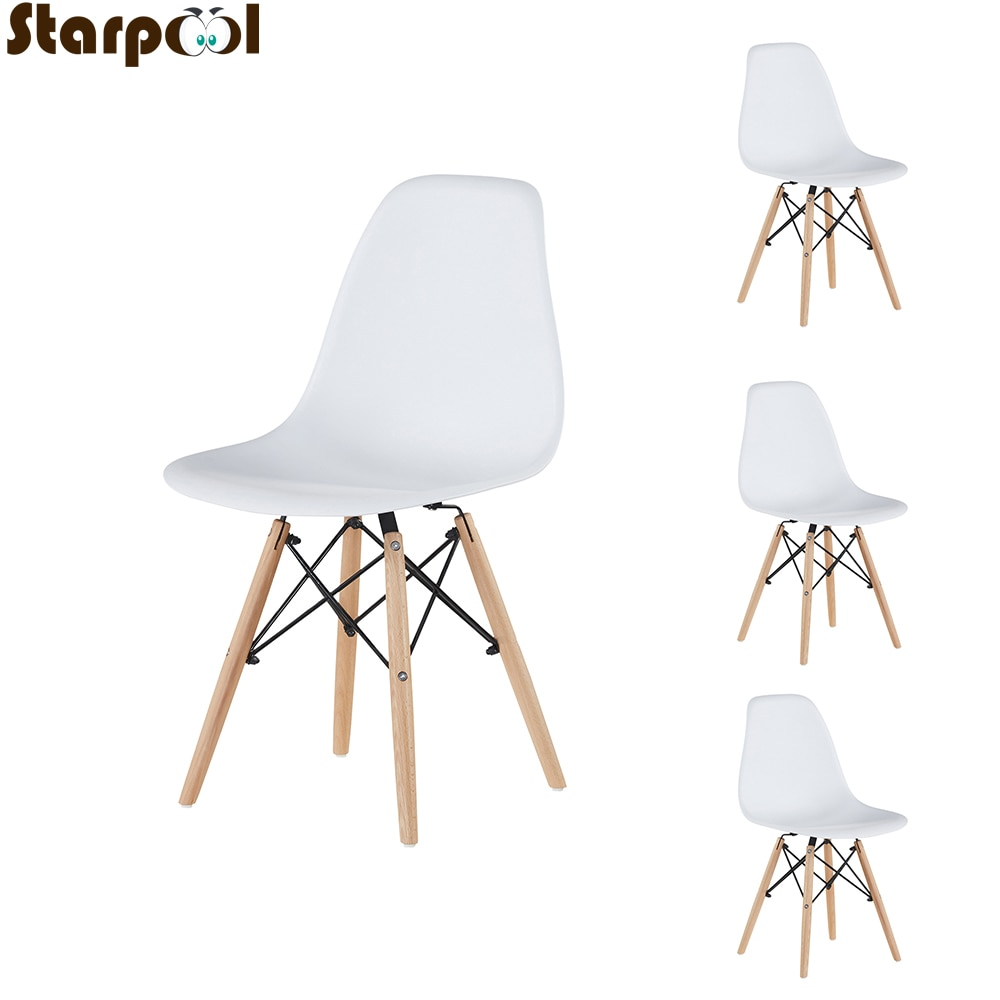 White Dining Chair Nordic Style Office Plastic Kitchen Chairs Wooden Feet Room Sets Living
