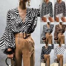 Femmes dame Sexy chemise à pois rayé léopard profond col en V à manches longues chemise de chemisier décontracté ample vêtements de Costume
