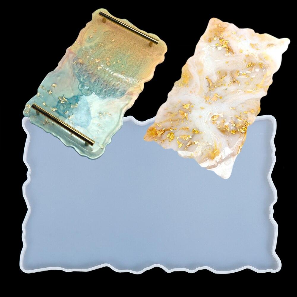 Bandeja de silicona grande, molde de artista, posavasos irregulares, suministros de Arte de resina epoxi, haz tu propia bandeja Moldes de resina epoxi triangulación de envíos