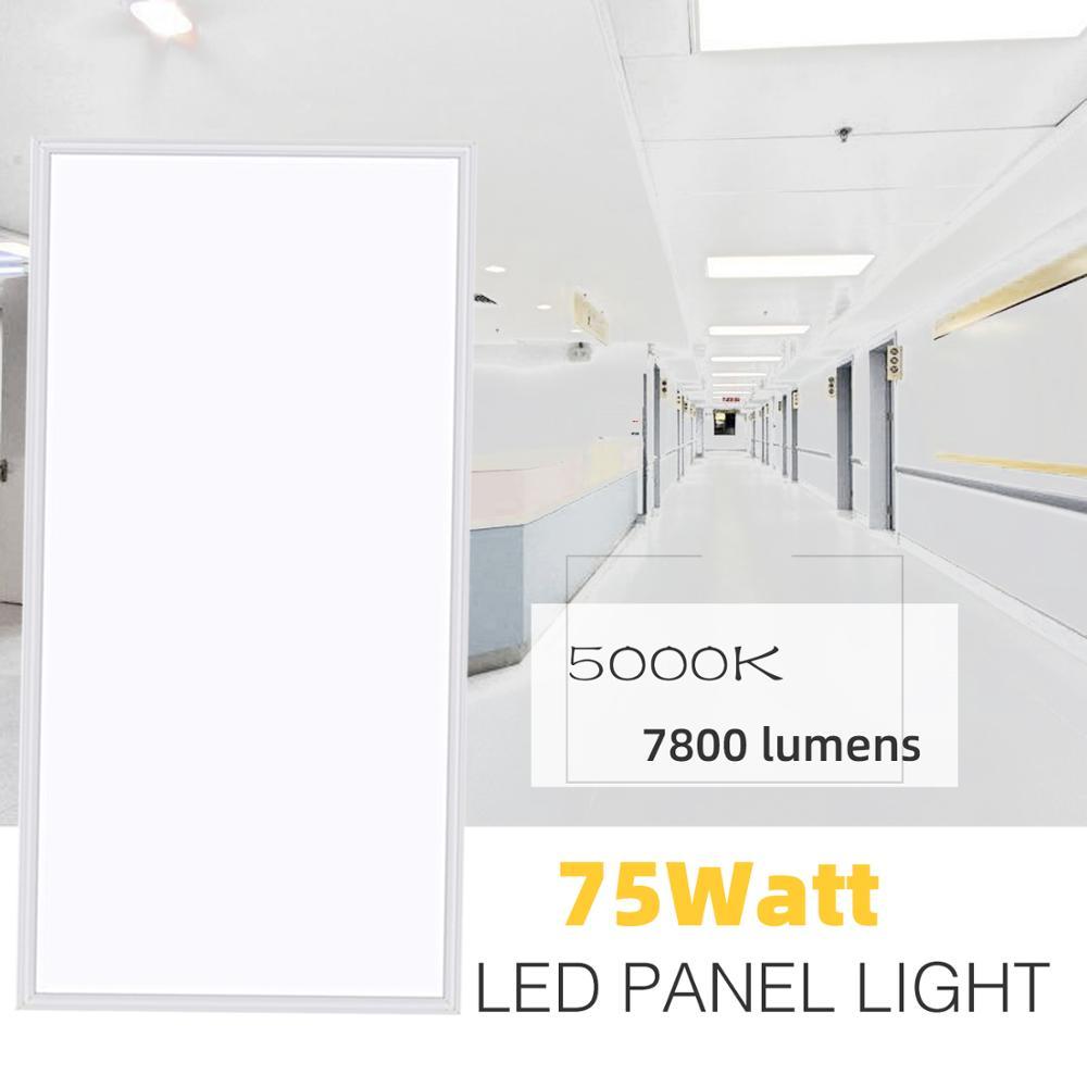 2x4 FT LED Flat Panel Light,4 Pack,75W 7800lm,5000K White Color, AC100-277V,0-10V Dimmable(4 Pack)
