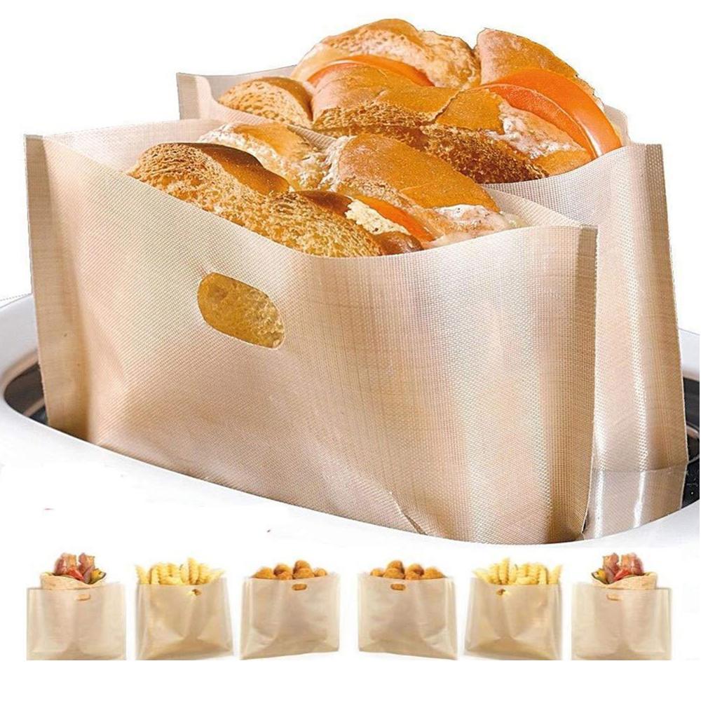 Bolsas para tostadora antiadherentes de 20 piezas, reutilizables, resistentes al calor, fáciles de limpiar, bolsa para pan y Pizza a la parrilla, bolsa para viajes y oficina para sándwich de desecho