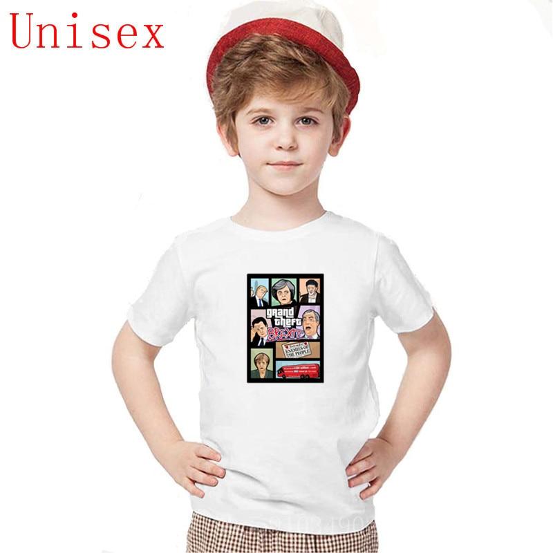 Grand Theft Brexit Britain Merkel Trump GTA Children TShirt fashion kids Tee shirt boy clothes size 14 or 16 boys girls clothes