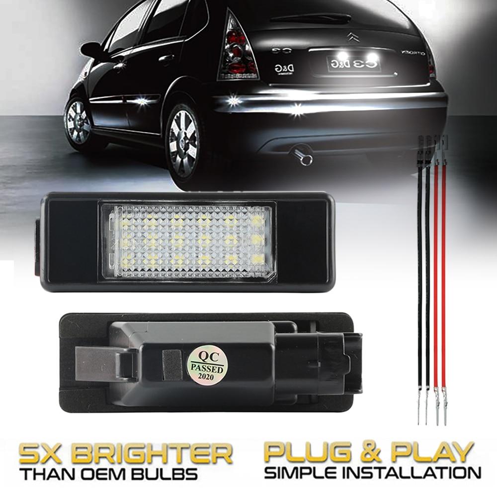2 шт. Автомобильные светодиодные лампы для номерного знака для Citroen DS5 DS3 C-Elysee C4 C4Picasso C3 C5 Berlingo C2 C6 C8 Jumpy Evasion