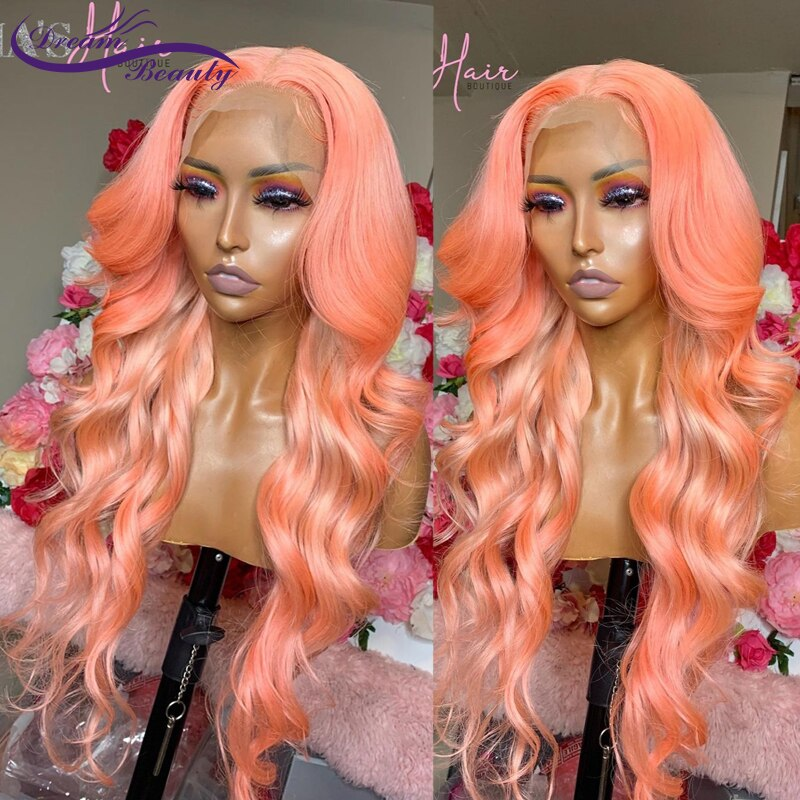 Wavy Pink Colored Lace Front Wig Human Hair Wigs 180% Brazilian PrePlucked Wavy Remy Hair Wigs For W