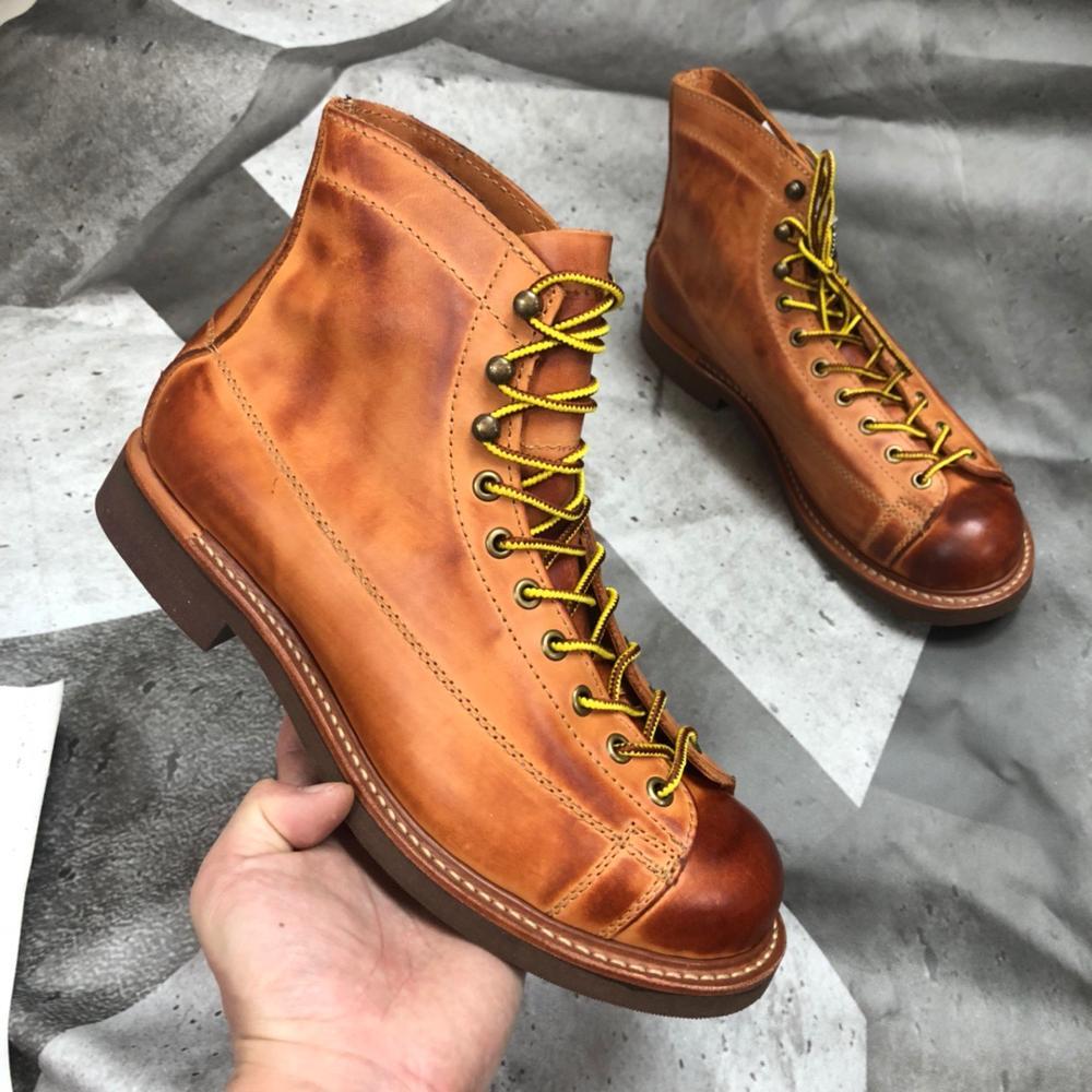 YQ2996 روك يمكن لفة حجم 35-49 فائقة الجودة حقيقية الايطالية جلد البقر اليدوية دائم جوديير Welted الأمريكية حذاء برقبة للعمل