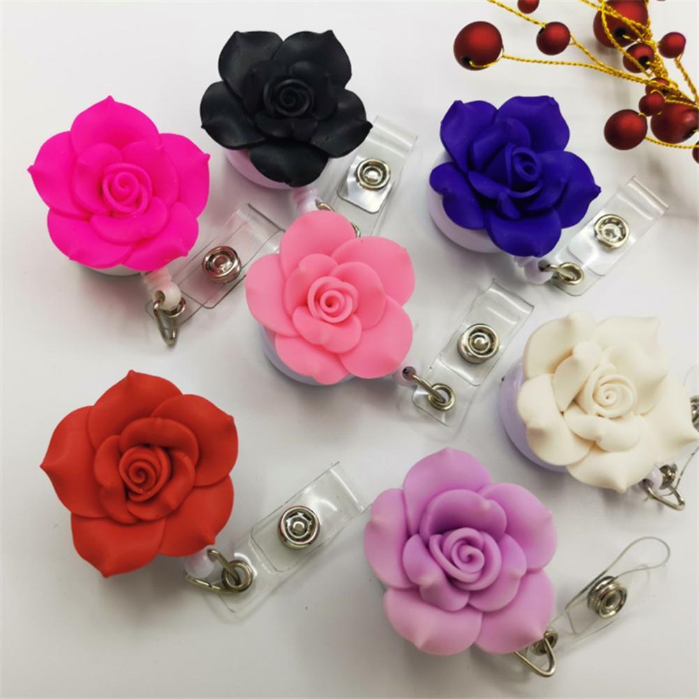 Mujeres Rosa flor retráctil carrete hebilla ID Badge nombre tarjeta Clip titular regalo