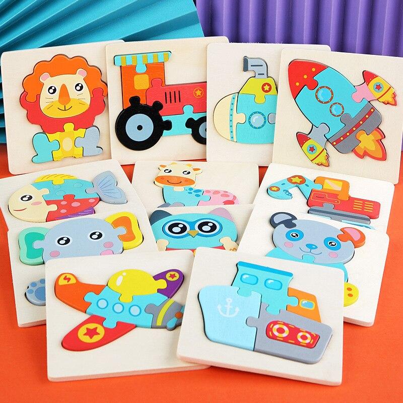 3D деревянные головоломки, Мультяшные животные, Детские когнитивные головоломки, деревянные игрушки для детей, детские головоломки, игрушки...