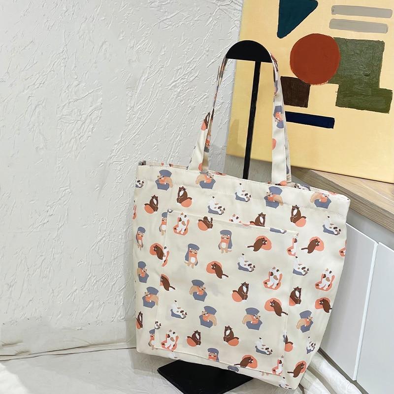 Fashion Cute Cartoon Cat Top-handle Tote Bag Teen Women Anime Kawaii Stylish Pink High Capacity Shop