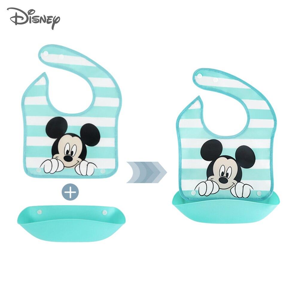 Disney babero de silicona para bebé de tres dimensiones, combinación impermeable, bolsillo a prueba de goteo, Baberos para bebé grandes extraíbles para Saliva