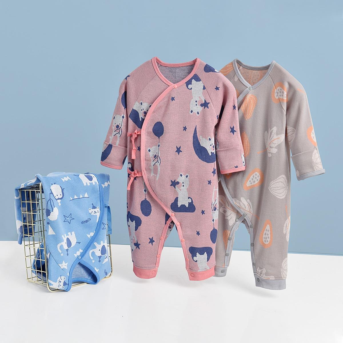 Детская одежда с длинным рукавом, одежда с бабочками, цельная детская одежда из чистого хлопка, детская одежда, хлопковая одежда для скалола...