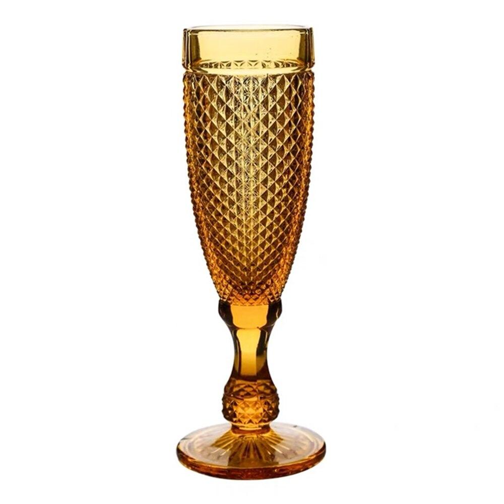 Amber champán taza de vidrio Retro patrón de diamante de botella de vino de 150ml gafas copa de Cocktail Bar La boda de licor bebiendo copas