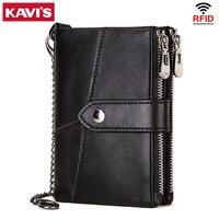 Кошельки KAVIS из воловьей кожи с рчид, модный красный кошелек для мелочи, женский маленький бумажник на цепочке, кредитница, портмоне для деву...