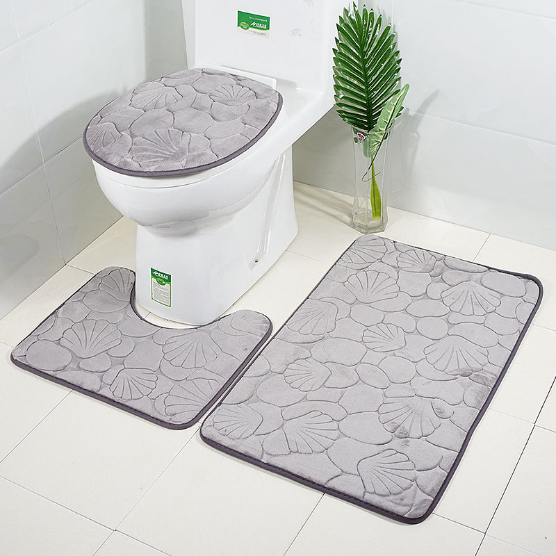 Bathroom Bath Mat Set Toilet Rugs Flannel Anti Slip Shower Carpets Set Home Toilet Lid Cover Shower Room Rug Floor Mats enlarge