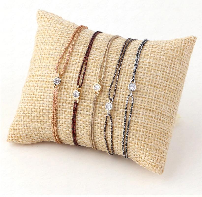 Pulsera sencilla con cuerda pequeña, joyería encantadora con diamantes de imitación, 5 colores, estilo compacto, exquisita, Simple, mejor amiga
