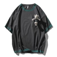 tide brand bear cotton t shirt spring and summer graffiti tops street casual compassionate half sleeved mens loose pullover