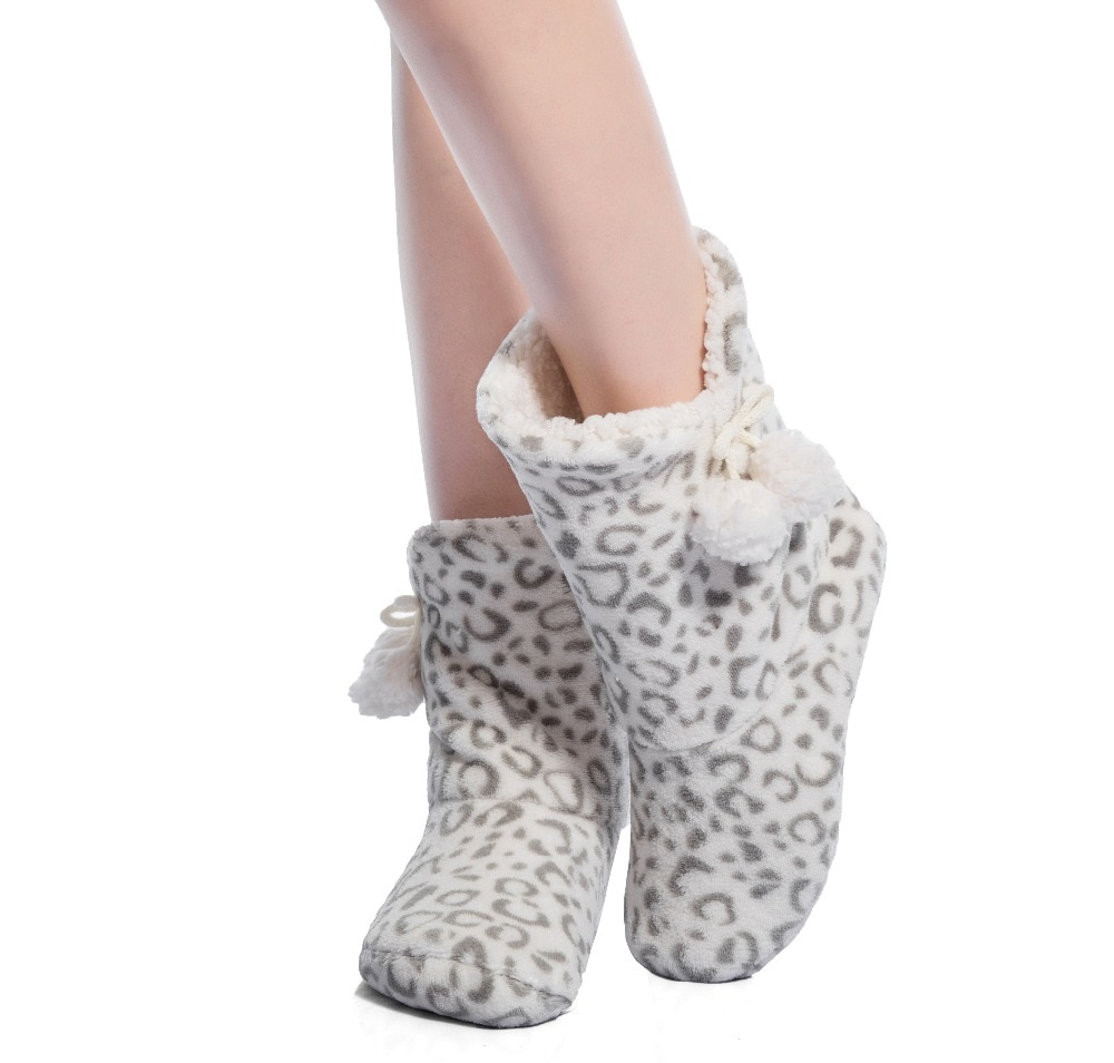 Теплые сапоги FRALOSHA, толстая плюшевая обувь для дома, нескользящая Мягкая домашняя обувь, сапоги и такую же серия, халат, в черный горошек