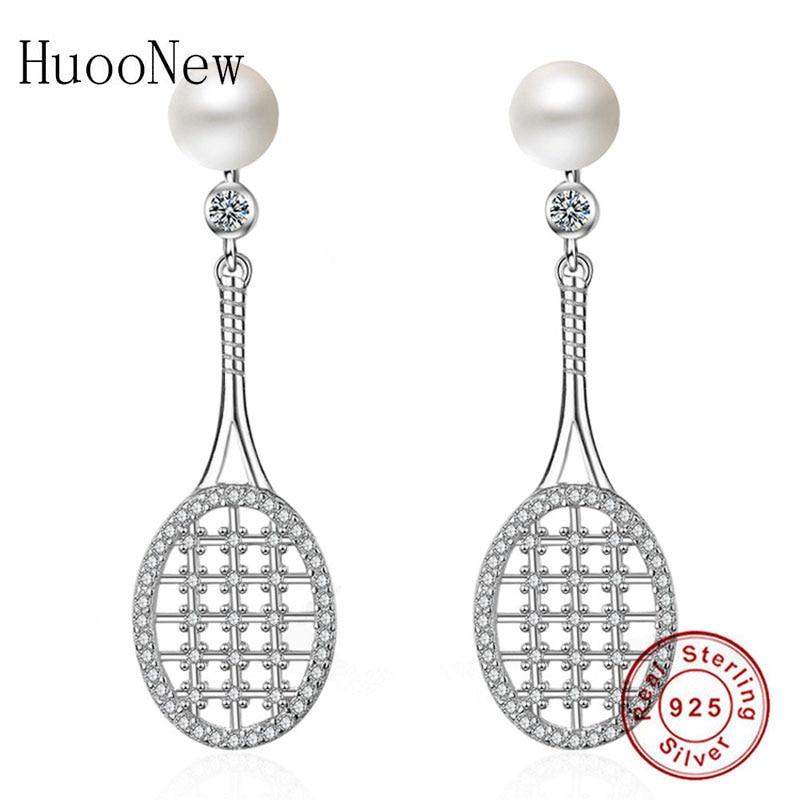 HuooNew 925 Sterling Silver Badminton Tennis Racket Simulated Pearl Stud Earrings Womens Female Girl Wedding Christmas Brinco