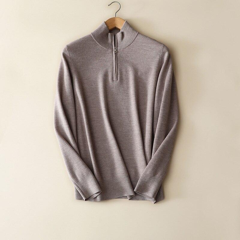 Outono inverno novos estilos 100% lã merino meia zip camisolas de gola alta