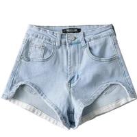 2021 summer women shorts casual denim shorts high waist short jeans women vintage hot shorts black blue jeans irregular fashion