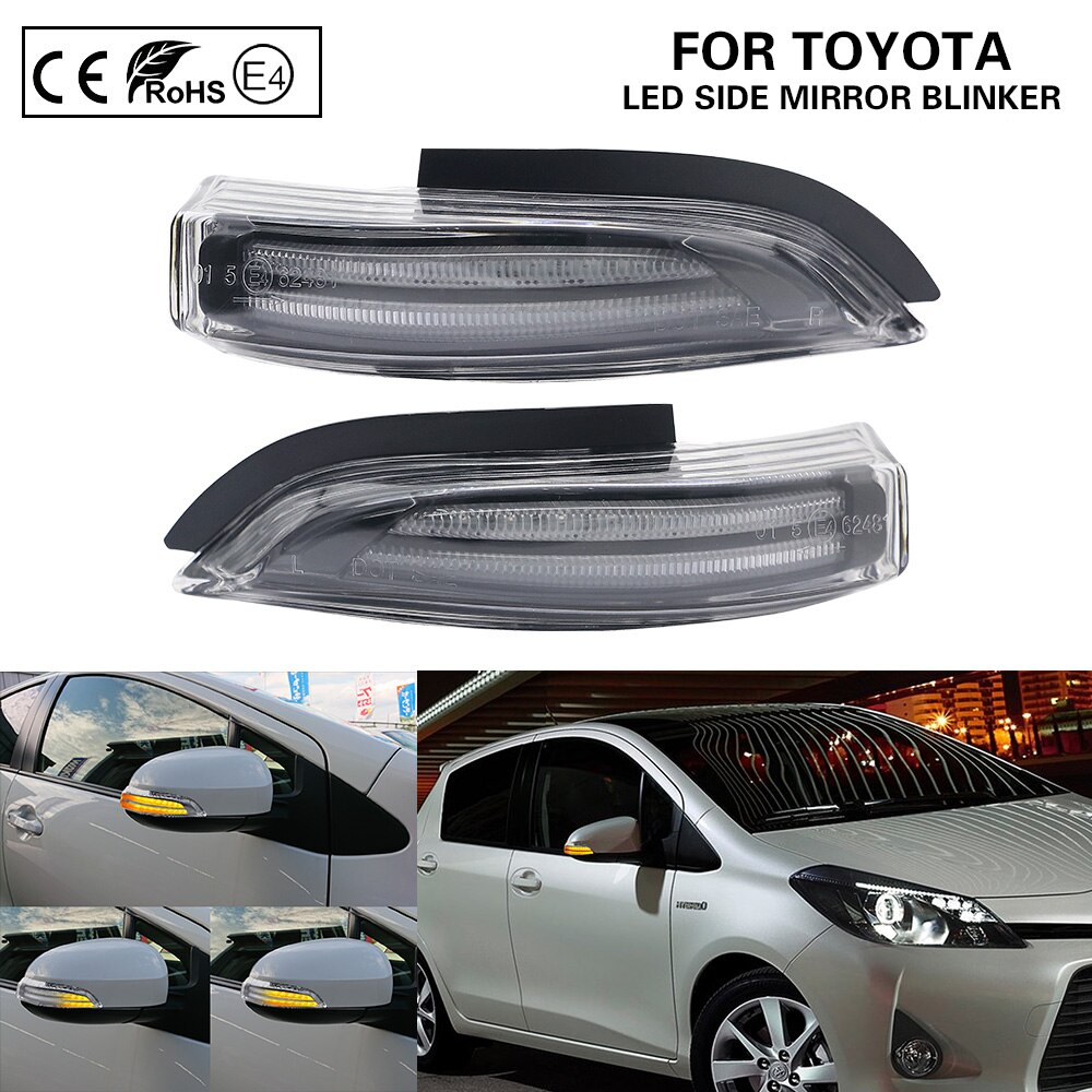 2XClear LED dynamic side mirror blinker Light Turn Signal Lamp For TOYOTA YARIS AURIS CAMRY COROLLA PRIUS C VERSO 2009