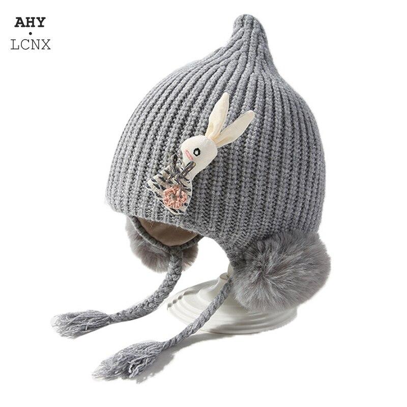 Gorro de malha bonito do chapéu do bebê do pompom inverno grosso meninas chapéus de veludo beanie orelha de coelho quente crianças chapéu bonnet muts para recém-nascido