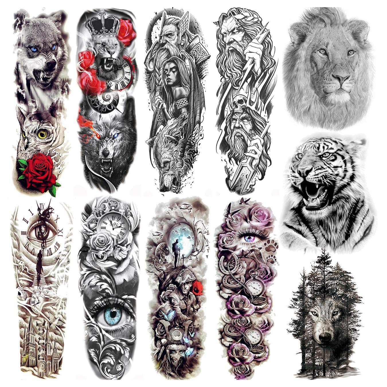 Tatuajes Temporales grandes manga para hombres mujeres brazo completo Selleve Tatoos temporal realista falso Lobo tigre león militar para adultos