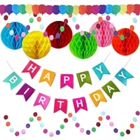 birthday party decoration set colorful birthday banner paper flower ball spiral hanging paper string latex balloon