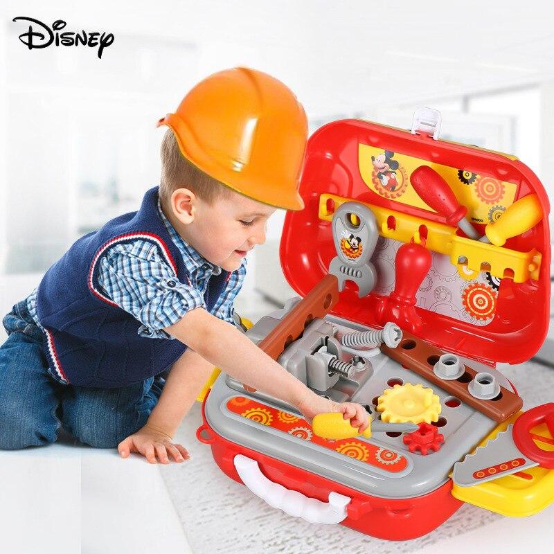 Оригинальный набор инструментов из серии Disney с Микки, игрушечный рюкзак, детский игровой домик для мальчиков, набор инструментов для разбор...