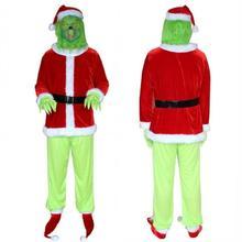 Weihnachten Grinch Cosplay Top Hosen Schuhe Handschuhe Set Halloween Xmas Cosplay Kostüme Grün Wolle Monster Cos Gefälschte Santa Claus