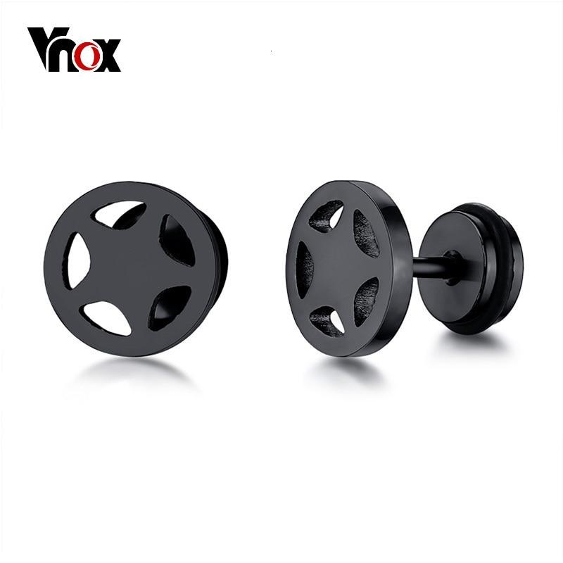 Vnox Men's Cool Pentagram Stud Earrings Stainless Steel Male Boy Earring Accessories 5 Colors Option